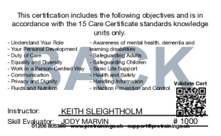 Sample Care Certificate Card Back