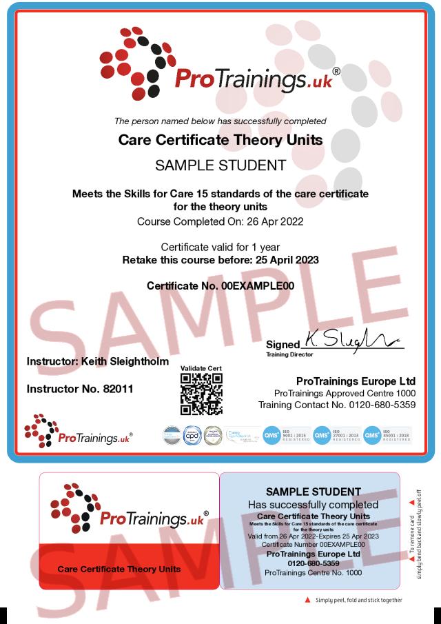 Sample Care Certificate Classroom Certificate