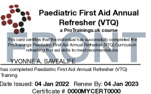 Sample Paediatric First Aid Annual Refresher (VTQ) Card Front
