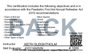 Sample Paediatric First Aid Annual Refresher (VTQ) Card Back