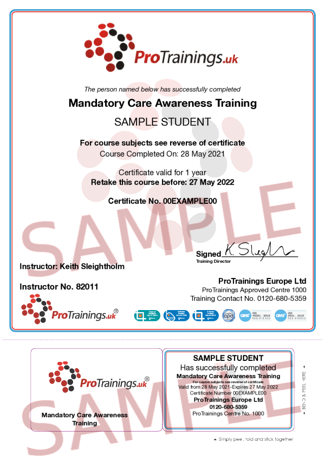 Sample Mandatory Care Awareness Training Classroom Certificate