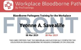 Sample Patógenos Sanguíneos para el Lugar de Trabajo Card Front