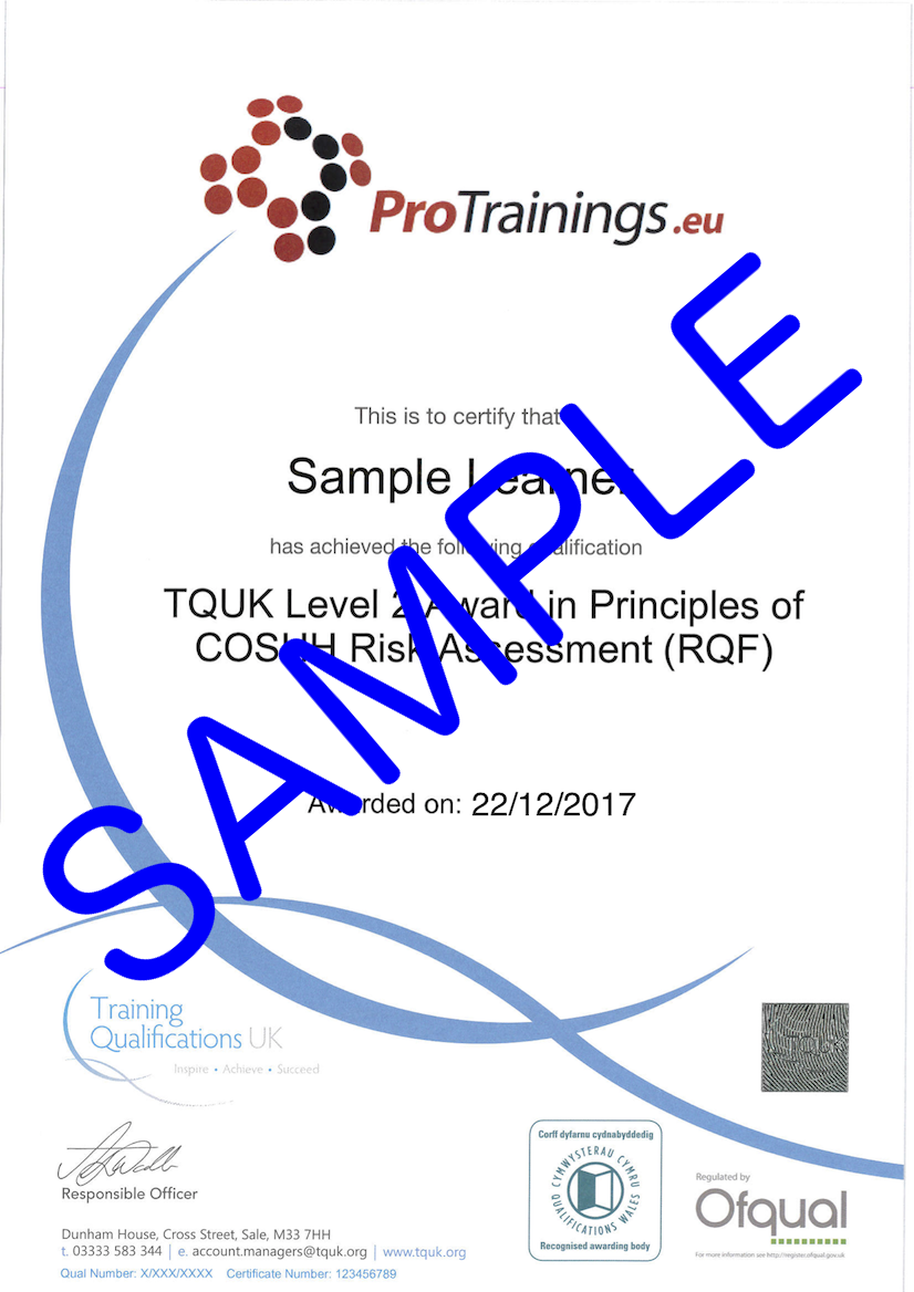 Sample TQUK Level 2 Award in COSHH Risk Assessment (RQF) Classroom Certificate