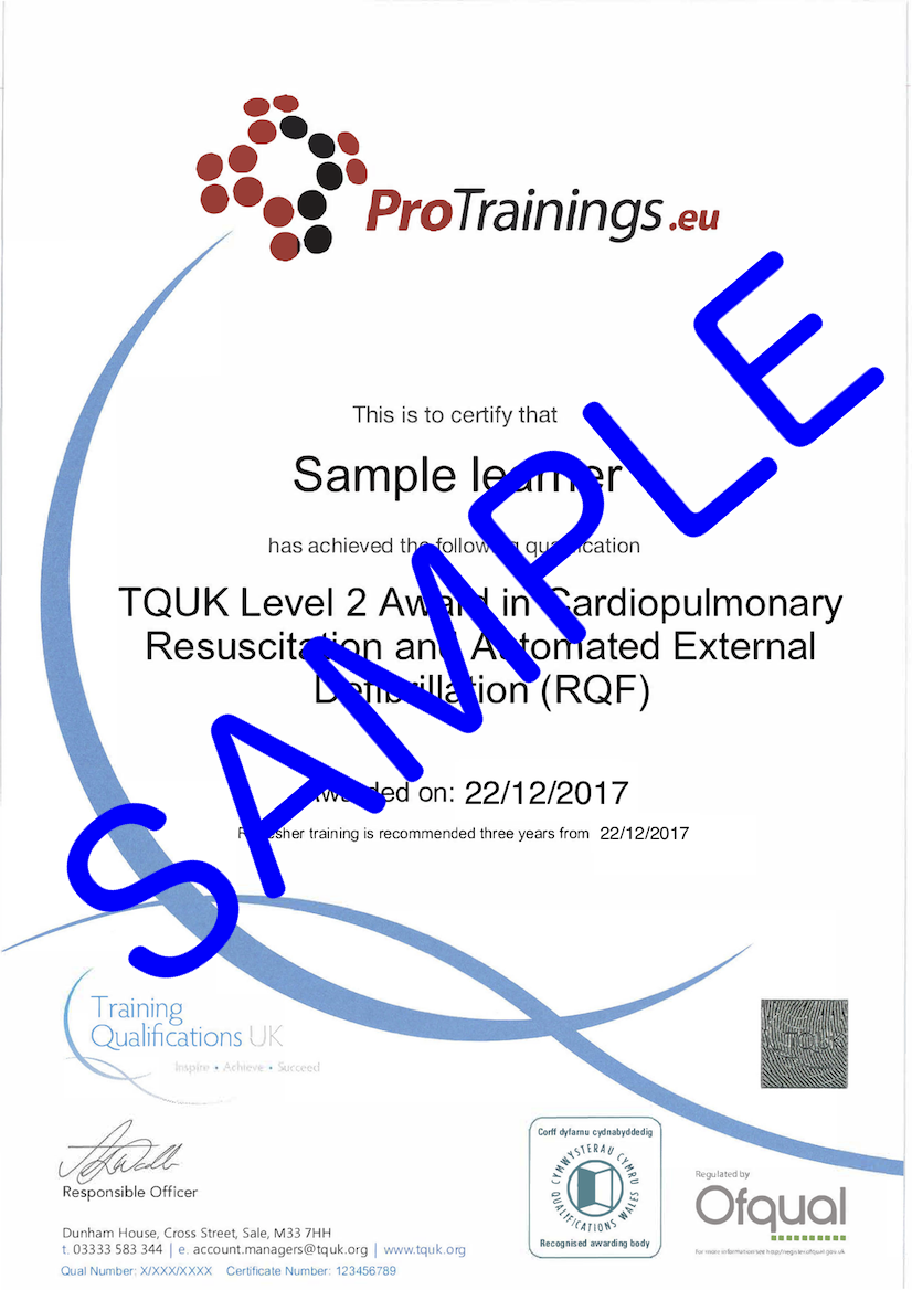 Sample TQUK Level 2 Award in Cardiopulmonary Resuscitation and Automated External Defibrillation (RQF) - BLS Classroom Certificate