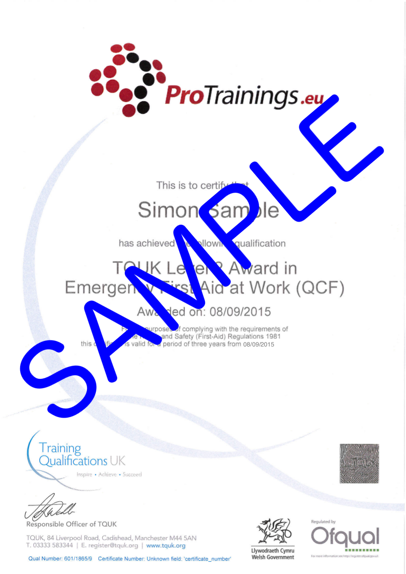 Sample TQUK Level 3 Award in Emergency First Aid at Work (RQF) -  (EFAW) Classroom Certificate