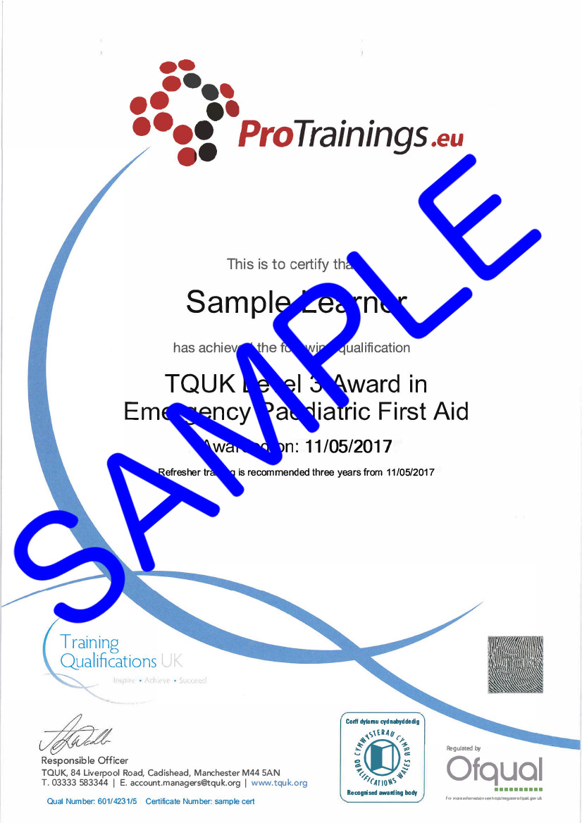 Sample TQUK Level 3 Award in Emergency Paediatric First Aid (RQF) - (EPFA) Classroom Certificate