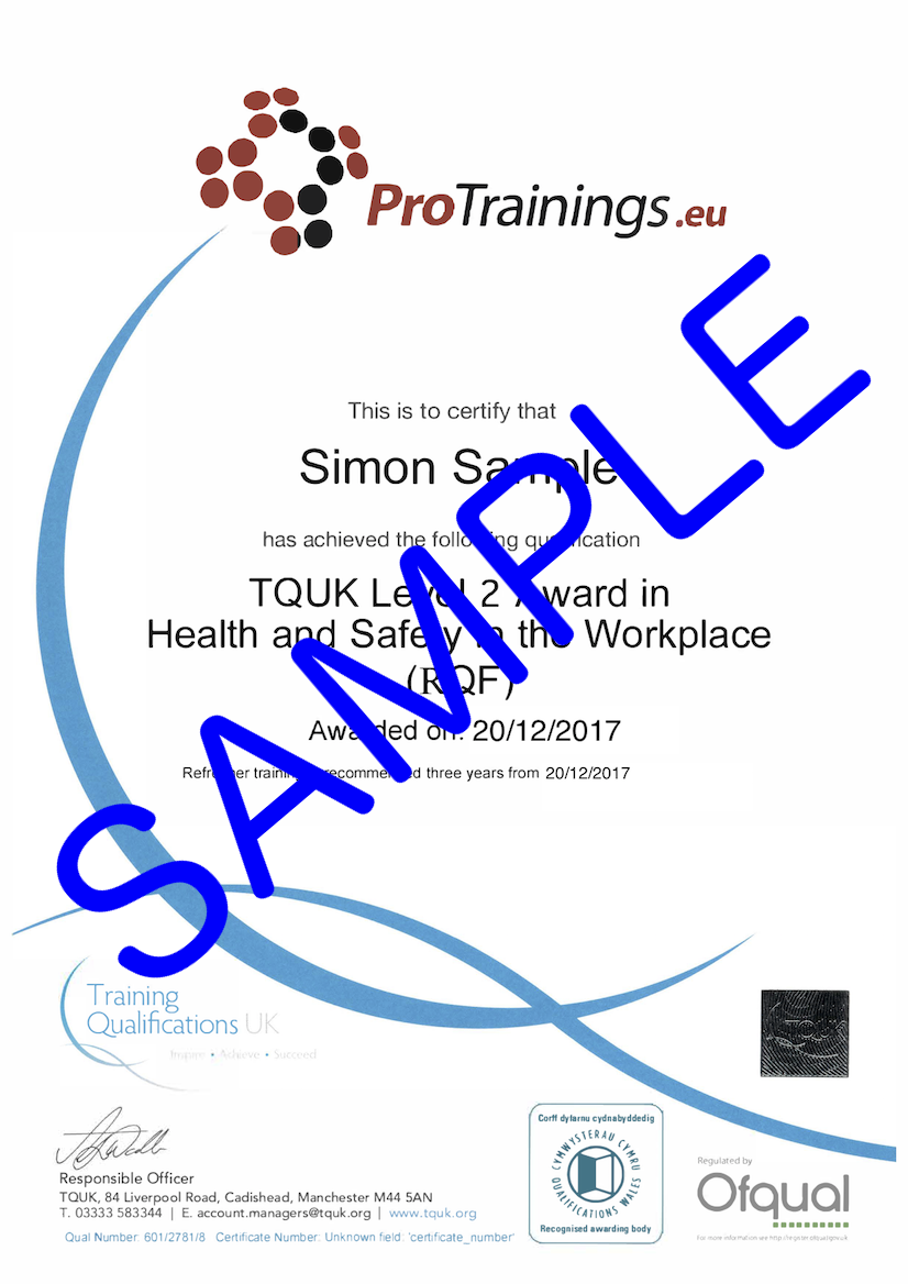 Sample TQUK Level 2 Award in Health and Safety in the Workplace (RQF) Classroom Certificate
