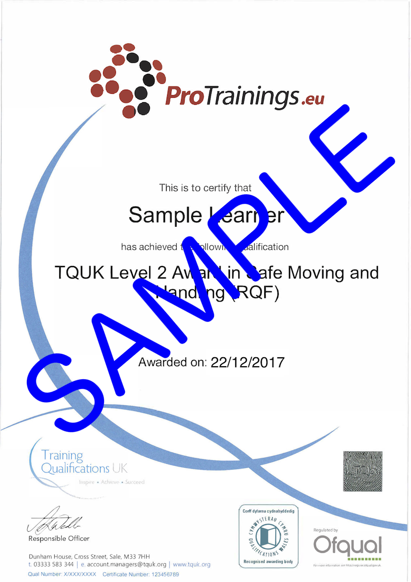 Sample TQUK Level 2 Award in Safe Moving and Handling (RQF) Classroom Certificate