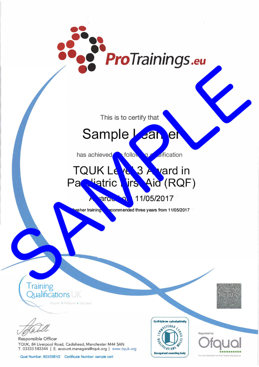 Sample TQUK Level 3 Award in Paediatric First Aid (RQF) - (PFA) Classroom Certificate