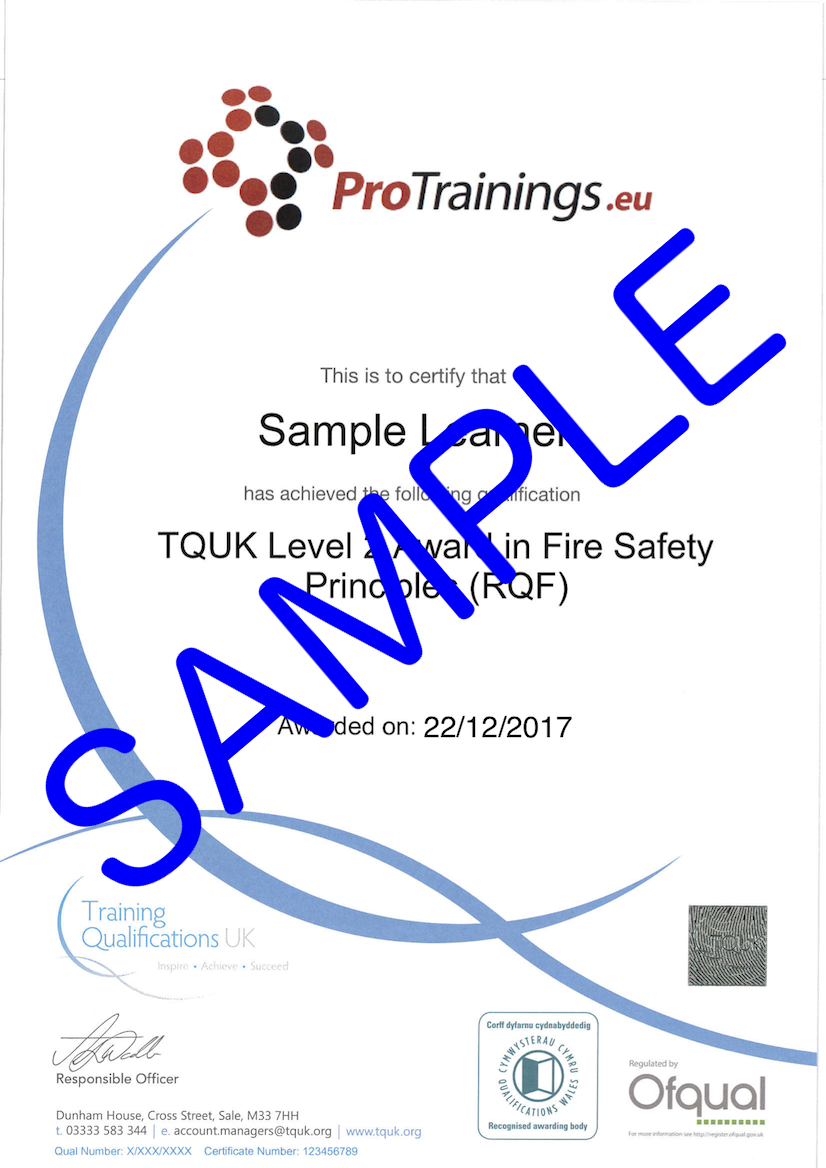 Sample TQUK Level 2 Award in Fire Safety Principles (QCF) Classroom Certificate