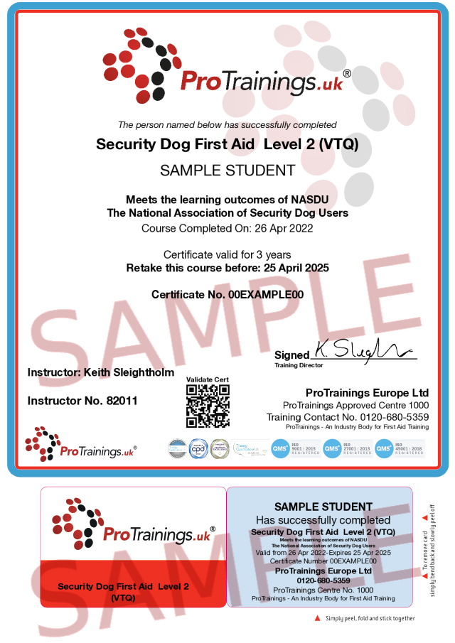 Sample Security Dog First Aid Level 2 (VTQ) Classroom Certificate