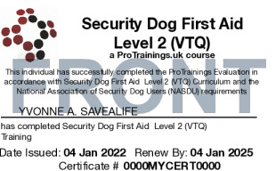 Sample Security Dog First Aid Card Front