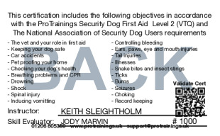 Sample Security Dog First Aid Card Back