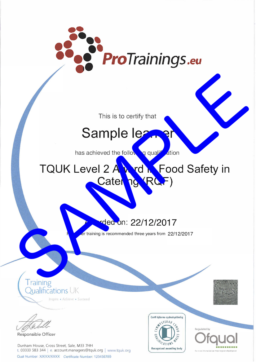 Sample TQUK Level 2 Award in Food Safety in Catering (RQF) Classroom Certificate