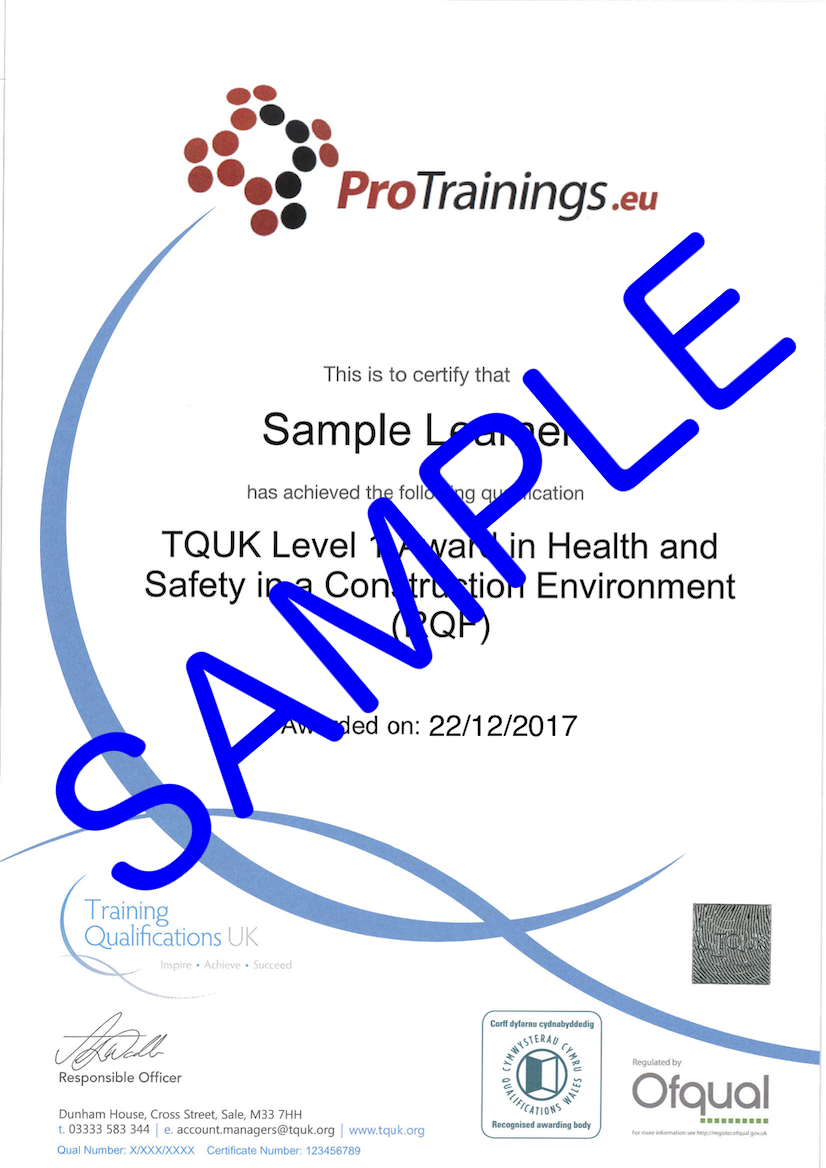 Sample TQUK Level 1 Award in Health and Safety in a Construction Environment (RQF) Classroom Certificate