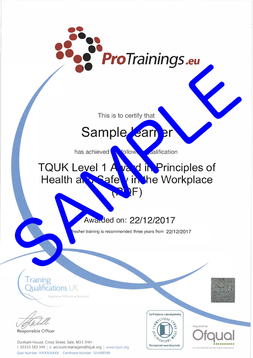 Sample TQUK Level 1 Award in Principles of Health and Safety in the Workplace (RQF) Classroom Certificate