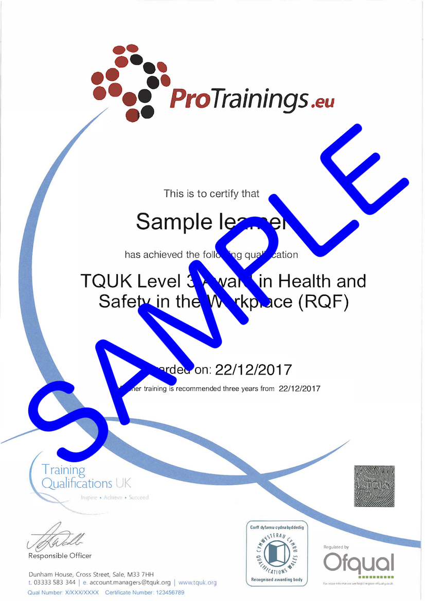 Sample TQUK Level 3 Award in Health and Safety in the Workplace (RQF) Classroom Certificate