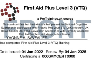 Sample First Aid Plus Card Front