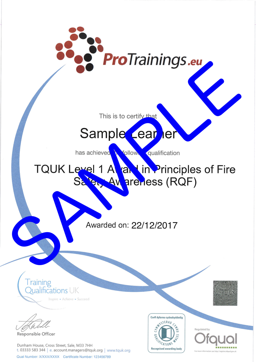 Sample TQUK Level 1 Award in Principles of Fire Safety Awareness (RQF) Classroom Certificate
