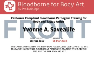 Sample California Compliant Bloodborne for Body Art Card Front