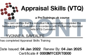 Sample Appraisal Skills Level 1 (VTQ) Card Front