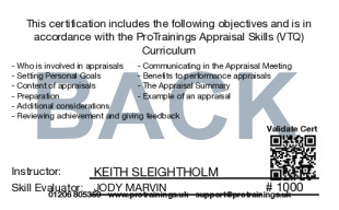 Sample Appraisal Skills Level 1 (VTQ) Card Back