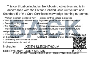 Sample Person Centred Care Level 2 (VTQ) Card Back