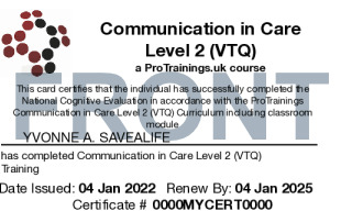 Sample Communication in Care Level 1 (VTQ) Card Front