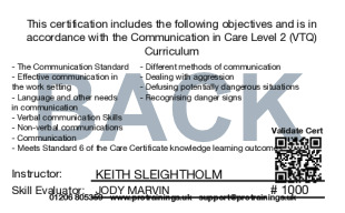 Sample Communication in Care Level 1 (VTQ) Card Back