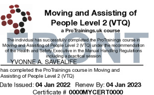 Sample Moving and Assisting of People Level 2 Card Front