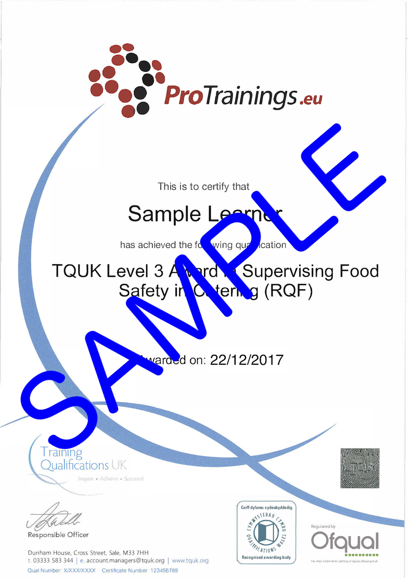 Sample TQUK Level 3 Award in Supervising Food Safety in Catering (RQF) Classroom Certificate