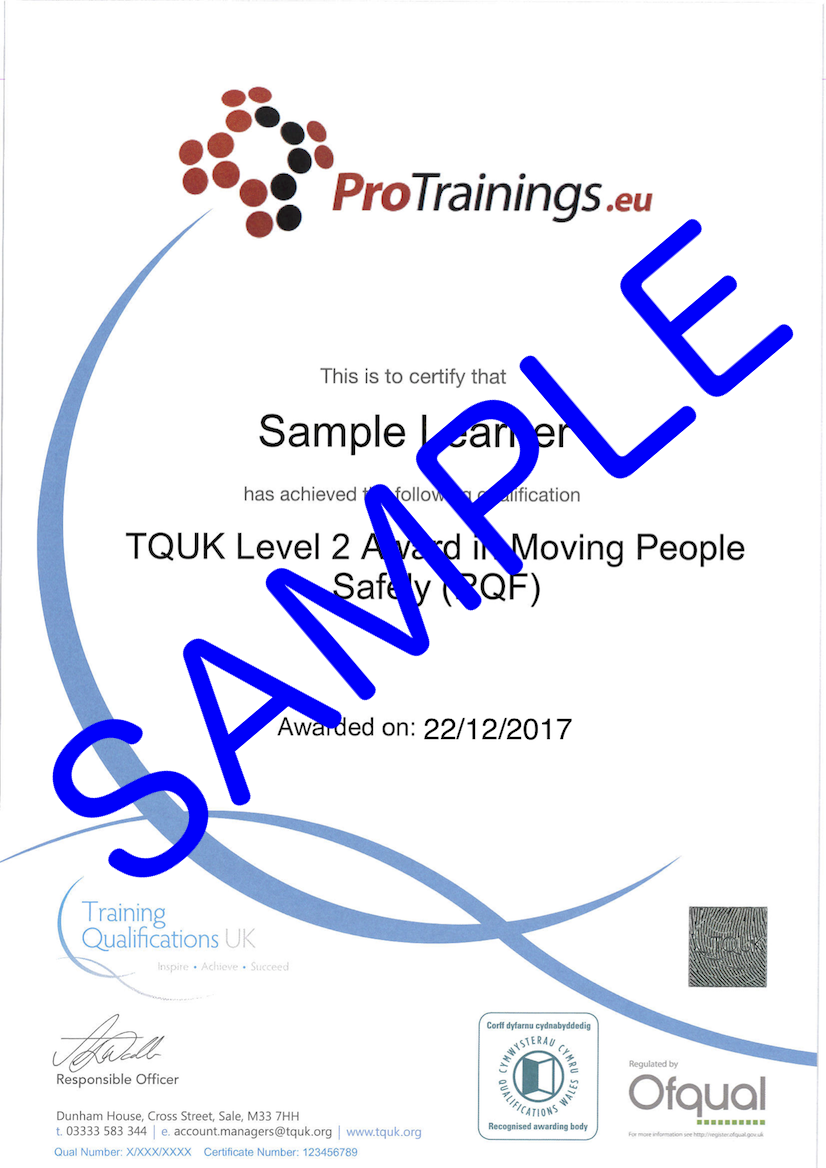 Sample TQUK Level 2 Award in Moving People Safely (RQF) Classroom Certificate