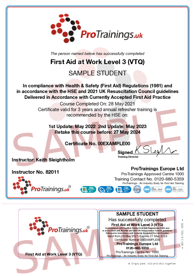 Sample First Aid at Work Level 3 (VTQ) Requalification Blended Part 2 (FAW) Classroom Certificate