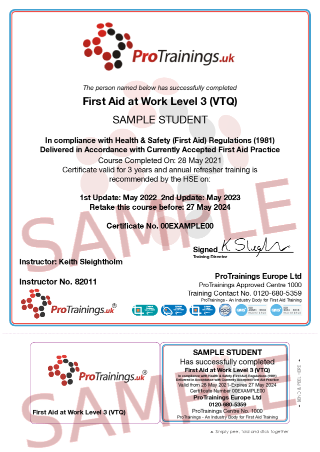 Sample First Aid at Work Level 3 (VTQ) Blended Part 2 (FAW) Classroom Certificate