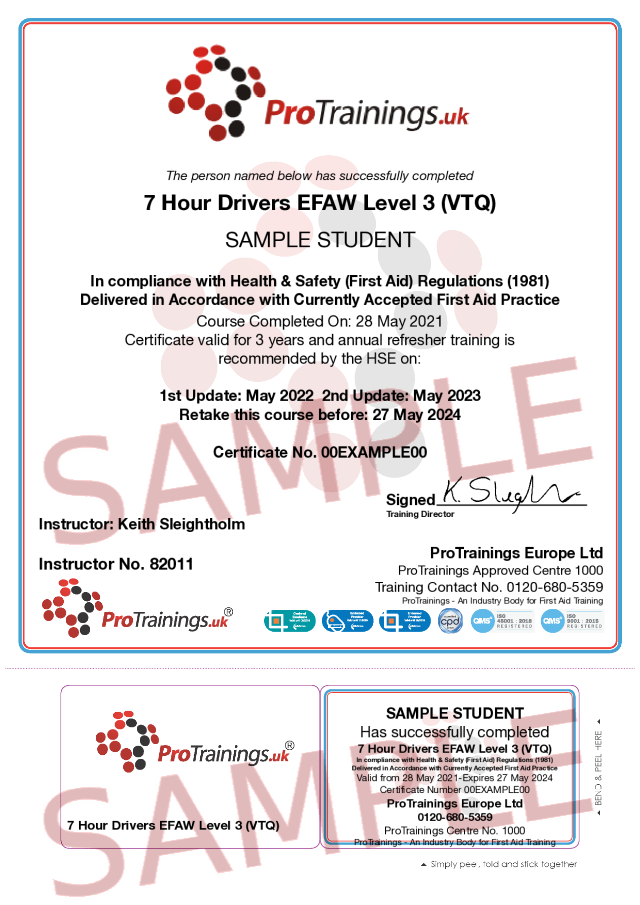 Sample 7 Hour Emergency First Aid at Work for Drivers Level 3 (VTQ) Blended Part 2 Classroom Certificate