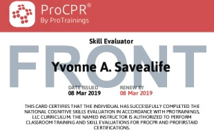 Sample Healthcare Provider Skill Evaluator Card Front