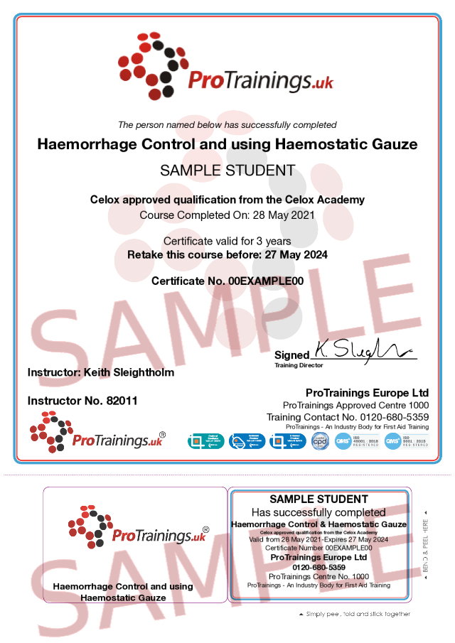 Sample Haemorrhage Control and the use of Haemostatic Gauze Classroom Certificate
