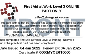 Sample First Aid at Work (VTQ) - FAW Level 3 Card Front