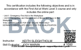 Sample First Aid at Work (VTQ) - FAW Level 3 Card Back