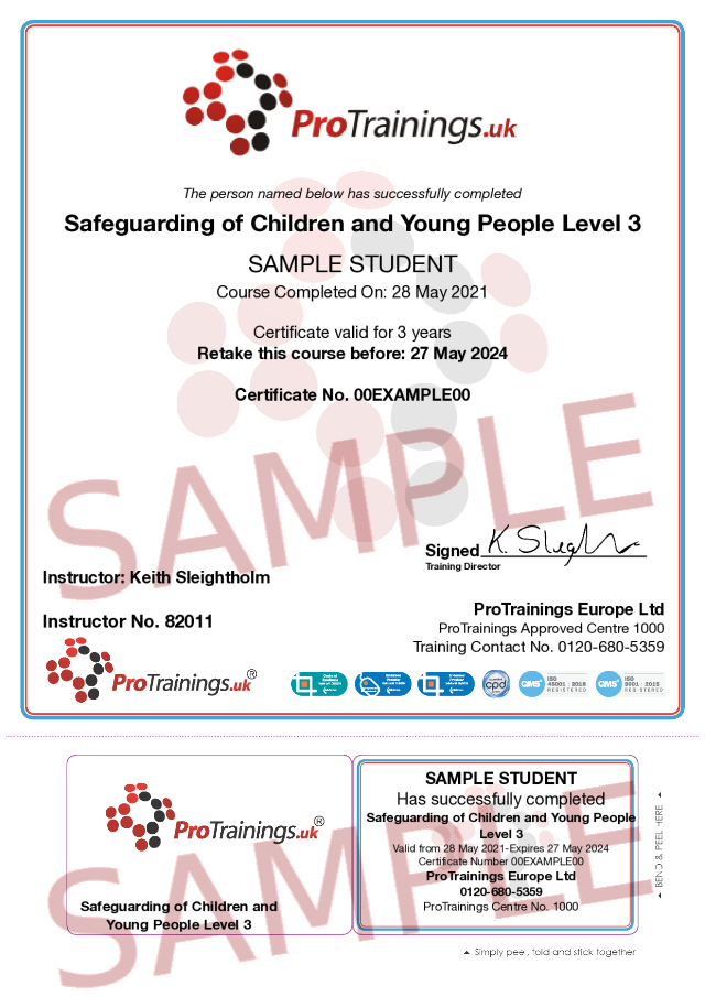 Sample Safeguarding of Children and Young People Level 3 Classroom Certificate
