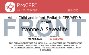 Sample Pediatric and Adult CPR / First Aid Card Front
