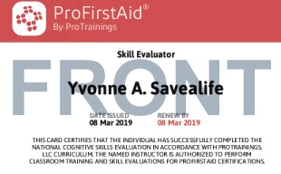Sample ProFirstAid Skill Evaluator Card Front