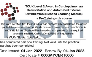 Sample TQUK Level 2 Award in Cardiopulmonary Resuscitation and Automated External Defibrillation (Blended Learning Module) - BLS Card Front