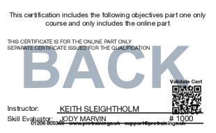 Sample TQUK Level 2 Award in Cardiopulmonary Resuscitation and Automated External Defibrillation (Blended Learning Module) - BLS Card Back