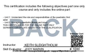 Sample TQUK Level 3 Award in Paediatric First Aid (Blended Learning Module) - (PFA) Card Back