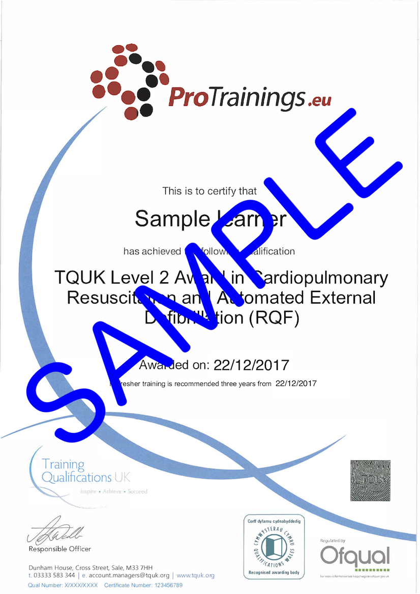 Sample TQUK Level 2 Award in Cardiopulmonary Resuscitation and Automated External Defibrillation (QCF) - Blended Part 2 (BLS) Classroom Certificate