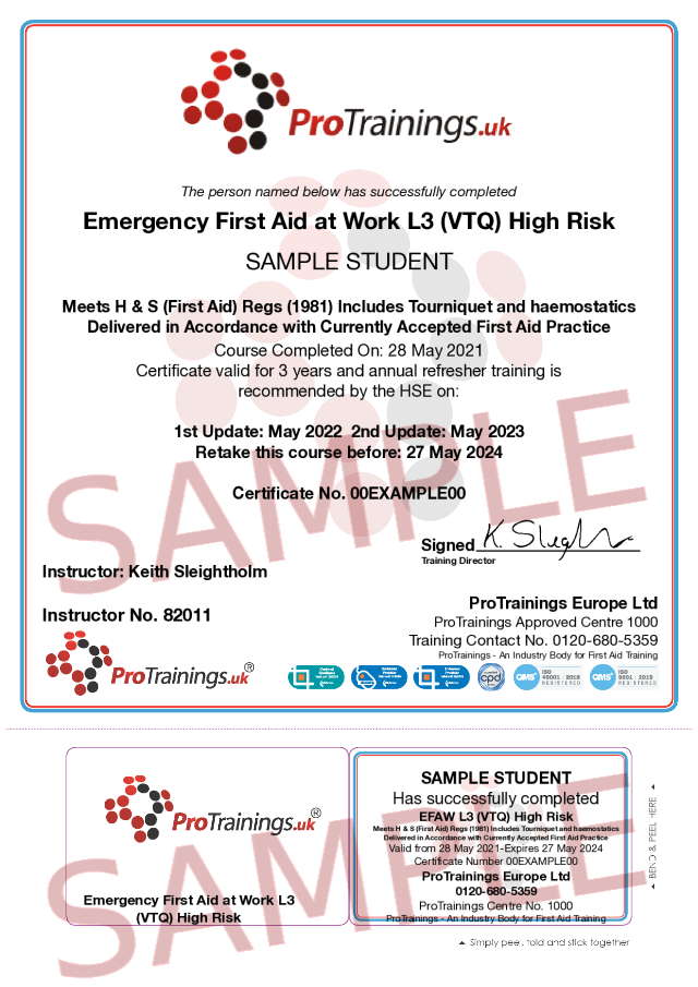 Sample Emergency First Aid at Work Level 3 (VTQ) - EFAW Classroom Certificate