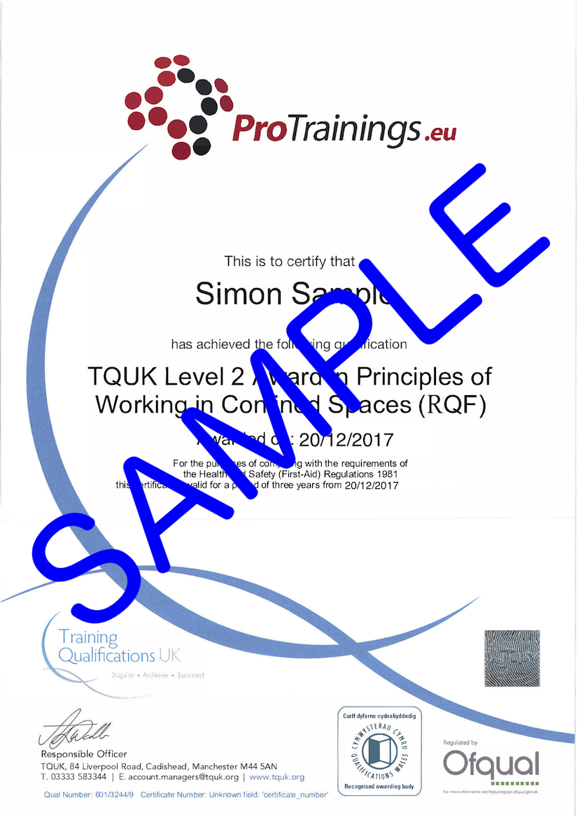 Sample TQUK Level 2 Award in Principles of Working in Confined Spaces (RQF) Classroom Certificate