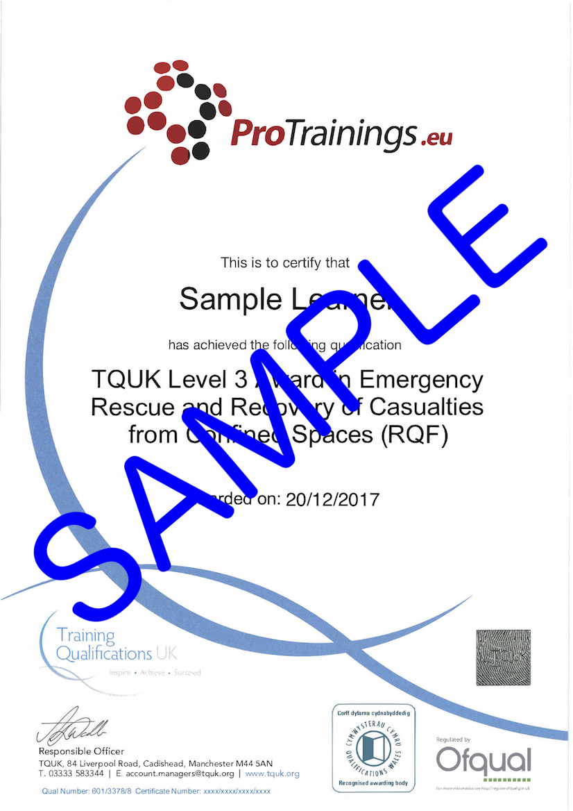 Sample TQUK Level 3 Award in Emergency Rescue and Recovery of Casualties from Confined Spaces (RQF) Classroom Certificate