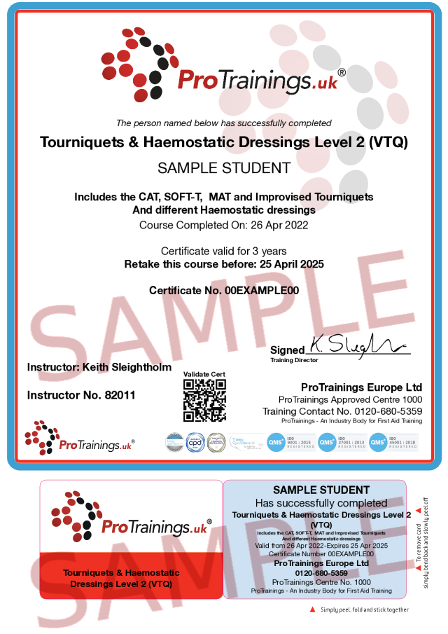 Sample Tourniquets, Haemostatic Dressings and using BSi Critical Injury Kits Classroom Certificate